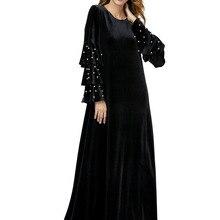 06b25e54ad8 Muslim Women Dress long-sleeved Embroidered velvet dress with beads Dubai  Dress maxi abaya jalabiya
