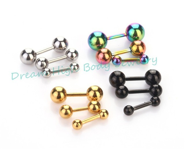 Hengke Jewelry Barbell Ear Retro 3 5 Mm Men S Stainless Steel Ball Piercing Studs Earrings Black Golden Rainbow 16g Body