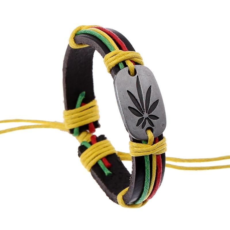 KYSZDL Fashion Jewelry Jamaica Red Green Sabzi Alloy Leather Bracelet Women Casual Personality Vintage Punk Bracelet Men