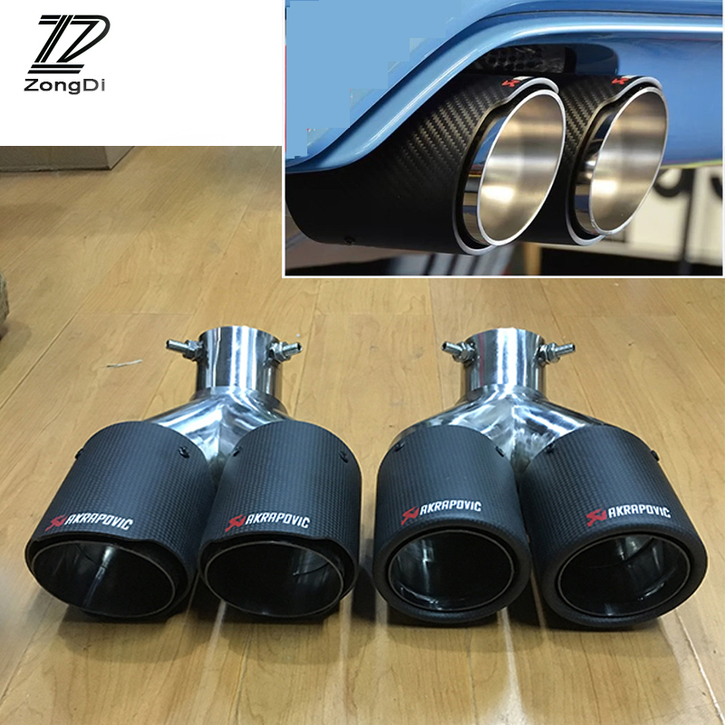 ZD 1pc Car Styling Carbon Fiber Exhaust Tips Muffler Pipe Curved Twin Outlet Akrapovic For Chevrolet Cruze Aveo Ford Focus 2 3 1