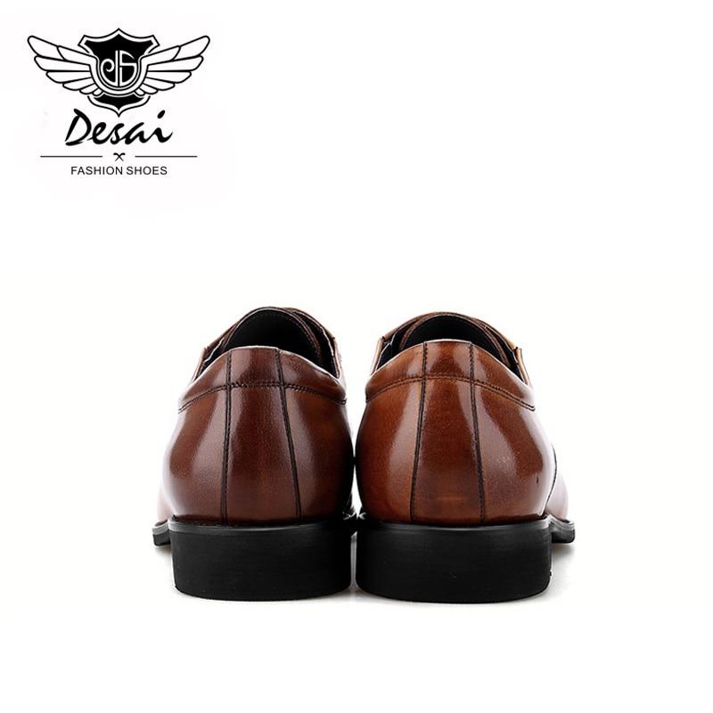 Para Hombre Cuero Británico Negocios A Cuadrada Tallados brown Genuino Black Zapatos Punta De Estilo Mano Casuales Cómodos Cx6RBSq