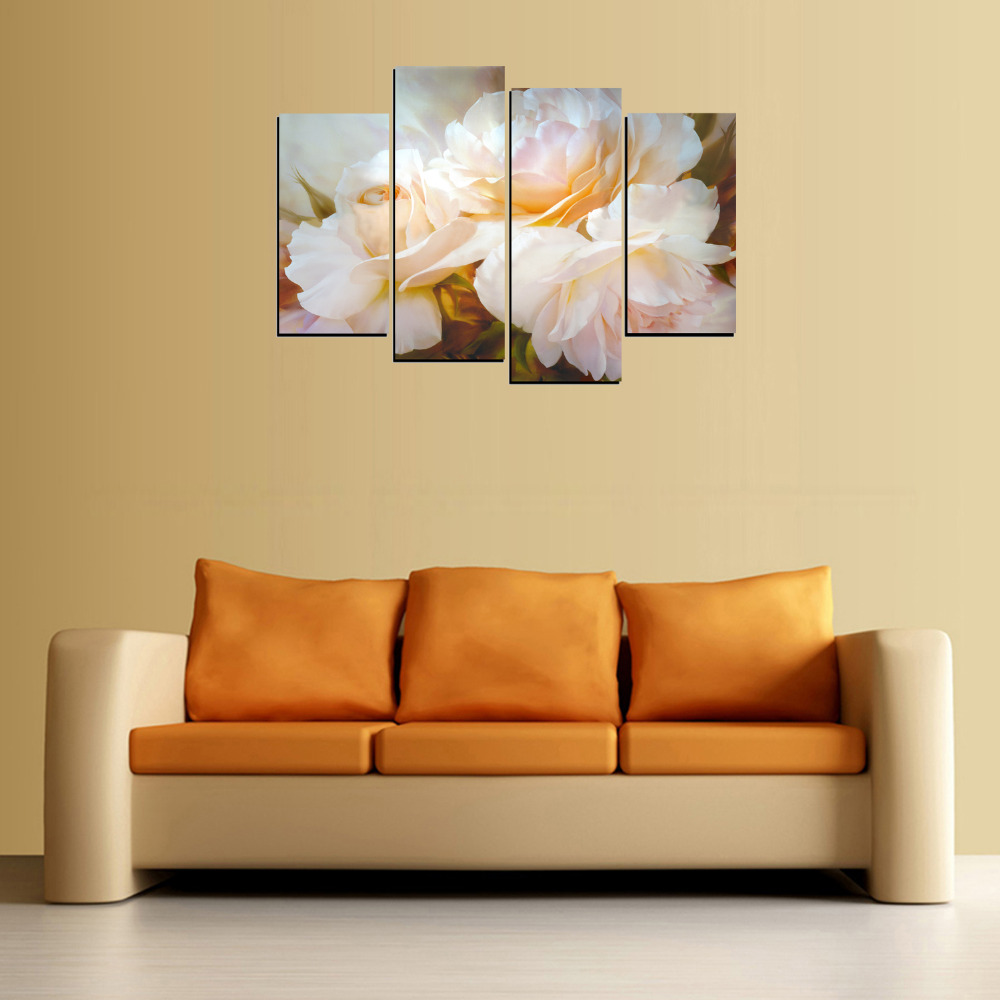 4 Panels Big Pink White Flower Canvas Print Painting for Living Room ...