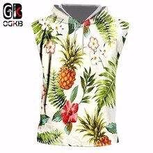 OGKB Hiphop Punk Fitness Sleeveless Hoodies Women/mens Print Pineapple Flower 3D Tank Top With Cap Singlets Workout Vest Homme
