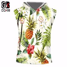 OGKB Hiphop Punk Fitness Sleeveless Hoodies Women/men's Print Pineapple Flower 3D Tank Top With Cap Singlets Workout Vest Homme(China)
