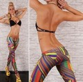Новое Прибытие Женщин Бесшовные Сторона Леггинсы Нерегулярные Цветные Полосы Jeggings Sexy Повседневные Брюки
