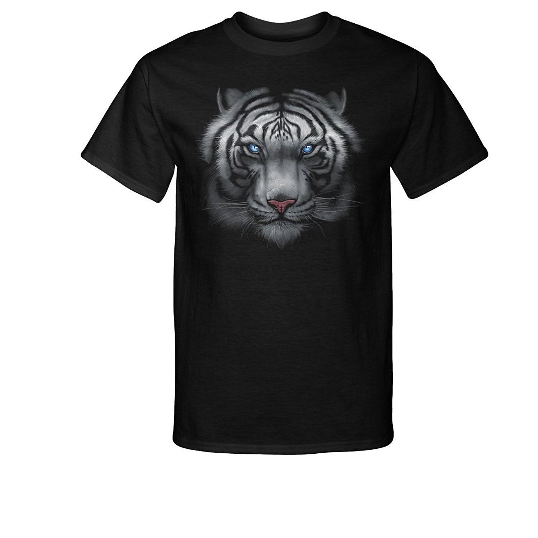 Velocitee Mens Long Sleeve T-Shirt Killer Instinct Tiger Face V198