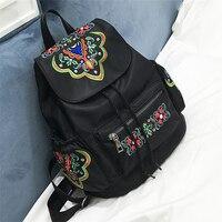 Femelle sac en nylon Oxford folk style Épaule Sac Cordon Sac À Dos style sac Chine broderie