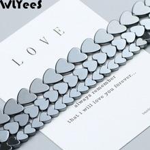 WLYeeS Love heart Shape Hematite Bead Natural Stone Peach Heart Loose Space for Jewelry Bracelet Earring Pendant Making DIY