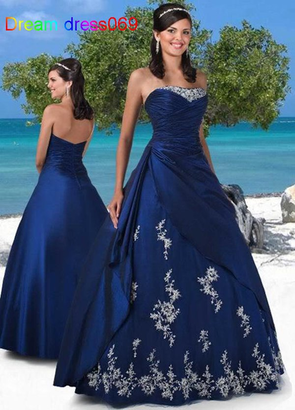 Custom Made Navy Blue Satin Taffeta Applique Beading Crystal A-Line Strapless Quinceanera Prom Formal Gown   bridesmaid     dresses