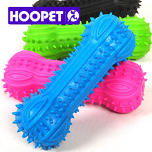 HOOPET Pet Dog Toys Puppy Cat Colorful Chew Toy Soft Small Rubber Bone Squeaky Sound Products for Aniamls