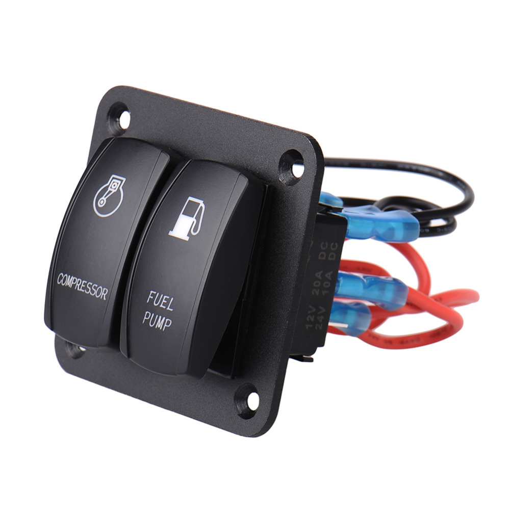 2 Gang Compressor Fuel Pump On Off Rocker Switch Panel 12v 20a 24v Pontoon And Wiring Harness 10a For Marine Boat Freeshipping Newest 2017 In Car Switches Relays From Automobiles