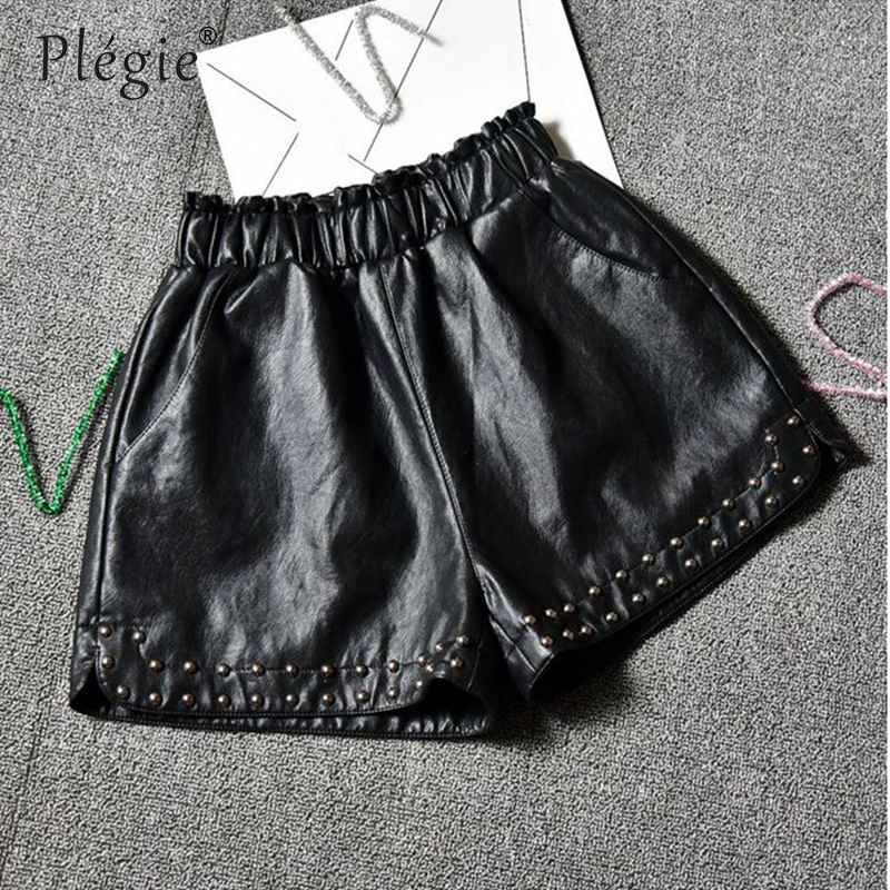 Plegie Plus Size 4XL Leather   Shorts   Female Autumn Winter High Waist Loose Wide Leg   Shorts   Women Elastic Waist Beading   Shorts