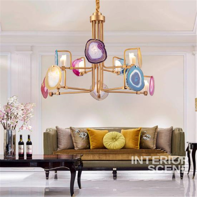 Nordic Style Agate Stone Dining Room Chandeliers Post - Modern Creative Living Room Hotel Luxury Designer Lighting z post modern luxury villas led chandeliers creative silver gold living room dining room study of spherical personality lamps