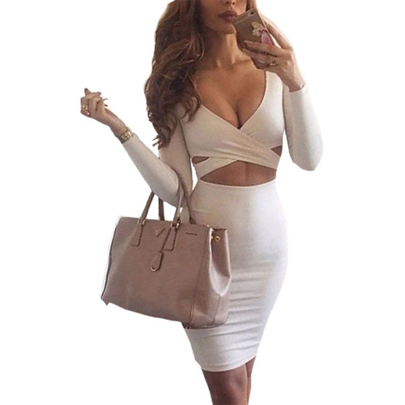 2018 Autumn Winter Women Dresses Sexy Clubwear Long Sleeve Deep V Neck Bodycon Dress Hollow Out Pencil Dress New M0522
