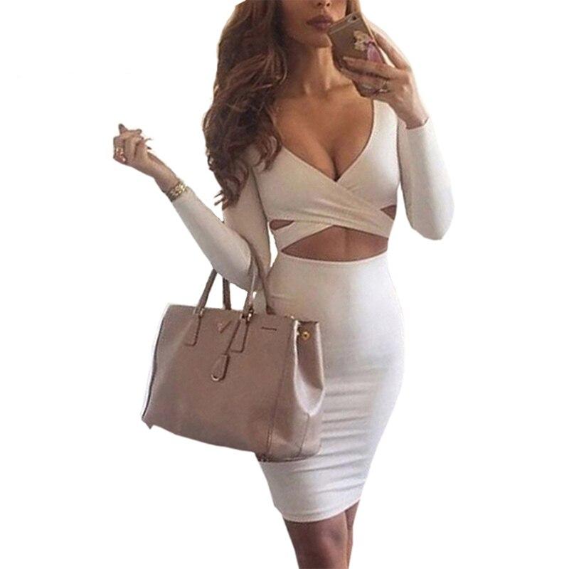 2018 Autumn Winter Women Dresses Sexy Clubwear Long Sleeve Deep V Neck Bodycon Dress Hollow Out Pencil Dress New M0522