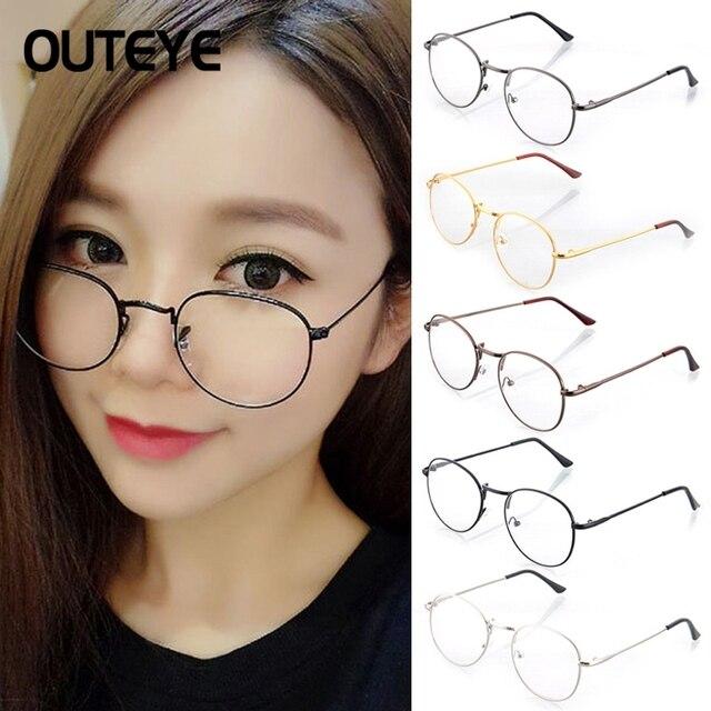 112f9bfcae8 OUTEYE Vintage Women Eye Glasses frames Clear Lens Harajuku Metal oval frame  glasses Plain Mirror Gafas