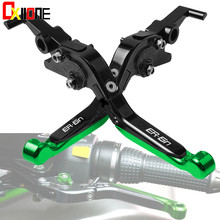 With ER6N LOGO CNC Adjustable Extendable Brake Clutch Levers  For KAWASAKI 2008 2010 Motorcross Accessories