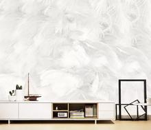 beibehang Customized new modern minimalist abstract pure white feather living room background papel de parede 3d wallpaper