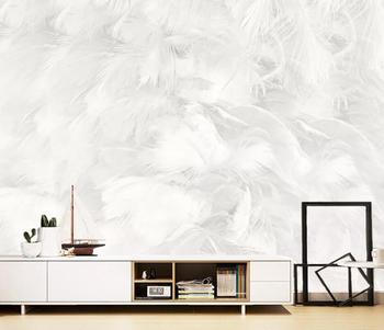 beibehang Customized new modern minimalist abstract pure white feather living room background papel de parede 3d wallpaper wellyu custom wallpaper 3d nordic modern minimalist white feather living room tv background wall papel de parede 3d wallpaper