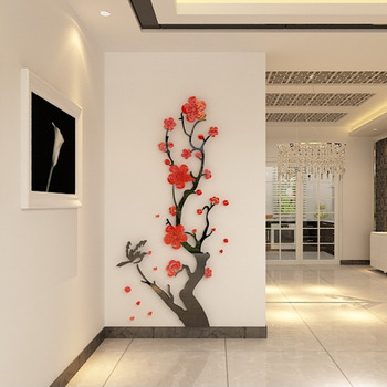Chinese Style 3D Wall Stickers Plum Blossom Flowers Stickers Home Decorations Living Room Dinning Room Wall Decor Decals Acrylic 8