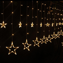 2*1Meters Christmas Lights AC 220V EU Plug Fairy Star LED Curtain String Lighting For Holiday Wedding Garland Party Decoration