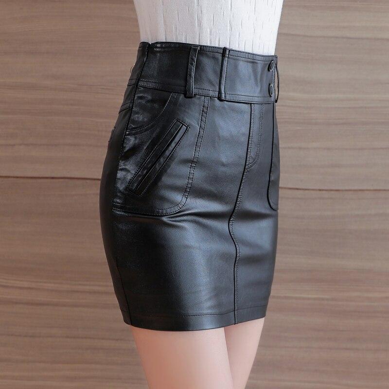 Cuero Zipper Botón Primavera Falda Lápiz Metal Delgado Mujer Vintage Negro Alta Otoño Moda 2018 Mujeres Cintura Faldas 4Bwc5Rcq
