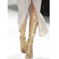 2018 Gold Boots Summer Gladiators Shoes Woman Heels Sexy Hollow Out Buckle Strap Stiletto Knee High Boots Catwalk Sandal Boots