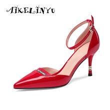 AIKELINYU Brand Women Pumps Summer Fashion Genuine Leather Sexy Sandals Red Fine High Heels Party Lady Wedding