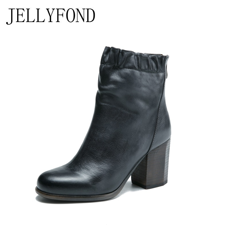JELLYFOND Brand Women Genuine Leather Ankle Boots Block High Heels Designer Winter Fur Boots 2017 Vintage Handmade Shoes Woman jellyfond designer autumn winter shoes woman 2018 handmade genuine leather big bow platform high heels ankle boots chelsea boots