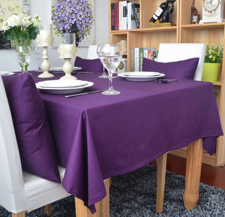 Aliexpress.com : Buy SunnyRain 1 Piece Cotton Solid Color Purple Table Cloth  Rectangle Tablecloth For Dining Table Thick Table Cover Customizable From  ...