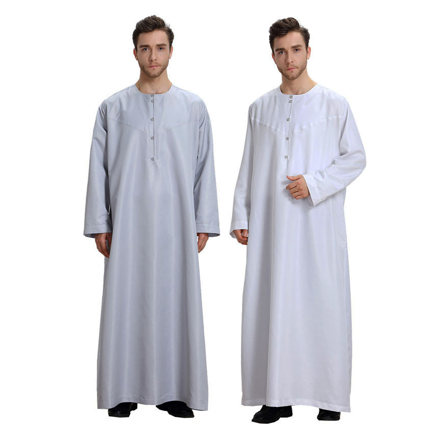 Short&full Sleeve Men Muslim Traditional Costumes Robe Jubba Thobe Solid Polyester Worship Service Islamic Clothing Male Gown