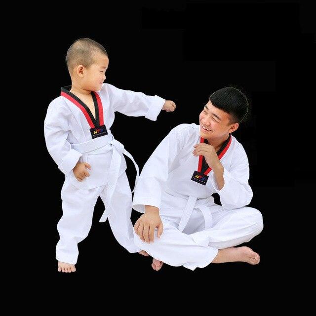 Tenue de Taekwondo blanche traditionnelle pour enfants adultes tenue de Taekwondo Dobok WTF tenue uniforme de karaté vêtements à manches longues entraînement de Fitness