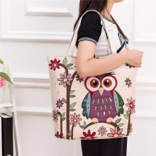 Women Messenger Bags Owl Printed Canvas Tote Casual Beach Bags Women Shopping Bag Handbags Women's Handbags Leather Bags Bolsos
