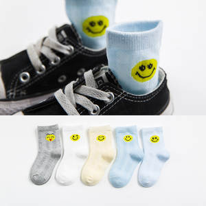 5 Pair/lot 2018 New Cartoon Smiley Face Baby Socks Cotton Kids Girls Boys Children Socks For 0-11 Year