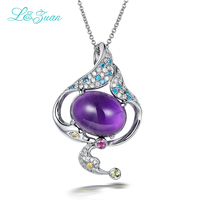 S925 Silver Amethyst Purple Spirit Trendy Pendant Jewelry For Women Gift Send A S925 Silver Necklace