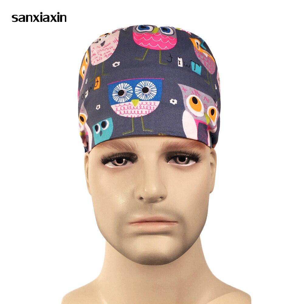 Wholesale Fashion Print Cartoon Hat Dentists Surgical Caps Work Nurse Cap Adjustable Clinic Hats Medical Surgery Cap Doctor Hat