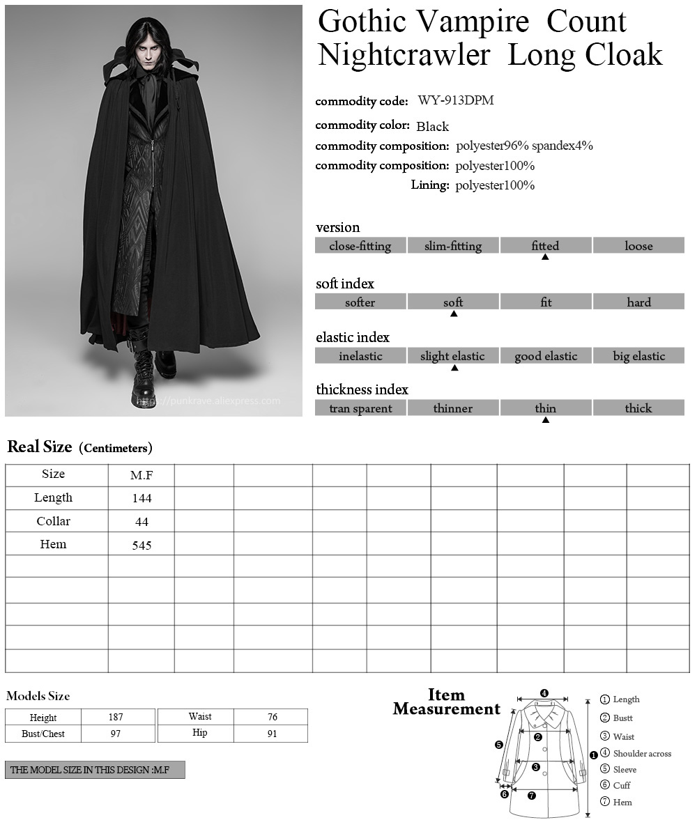 PUNK RAVE Goth Vampire Count Nightcrawler Black Turtleneck Long Cloak Party Cosplay Visual Kei Winter Coat Mens Gothic Clothes in Wool amp Blends from Men 39 s Clothing