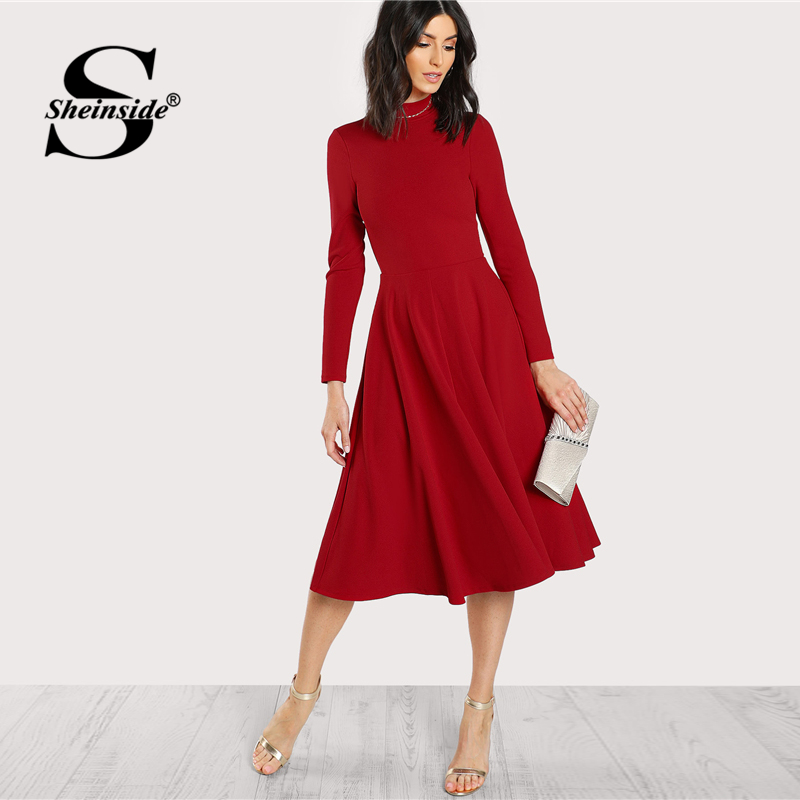 Sheinside Plain Fit And Flare Elegant Midi Dress Office Ladies Mock Neck Pleated A Line Women Long Sleeve Fall Party Dress