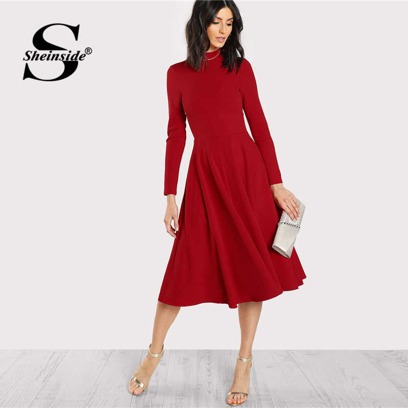 84d0c9d6475 Sheinside Plain Fit and Flare Elegant Midi Dress Office Ladies Mock Neck  Pleated A Line Women