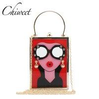 Thương hiệu Kính Bà Kim Loại Ly Hợp Ly Ví Box Phụ Nữ Sang Trọng Túi Acrylic Túi Buổi Tối Bên Túi Xách Lolita Túi Crossbody Nh