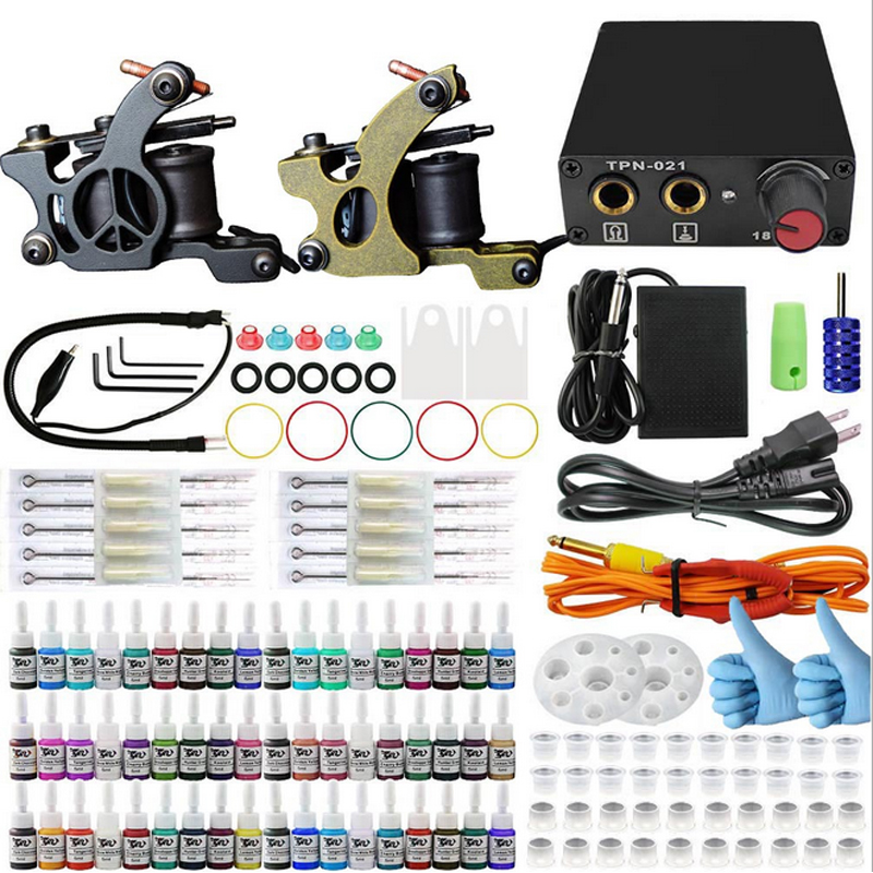 Professional Tattoo Kits Complete Tattoo set with 2 pcs Gun 54 color Inks Power Supply Cord Kit Body Beauty free shipping