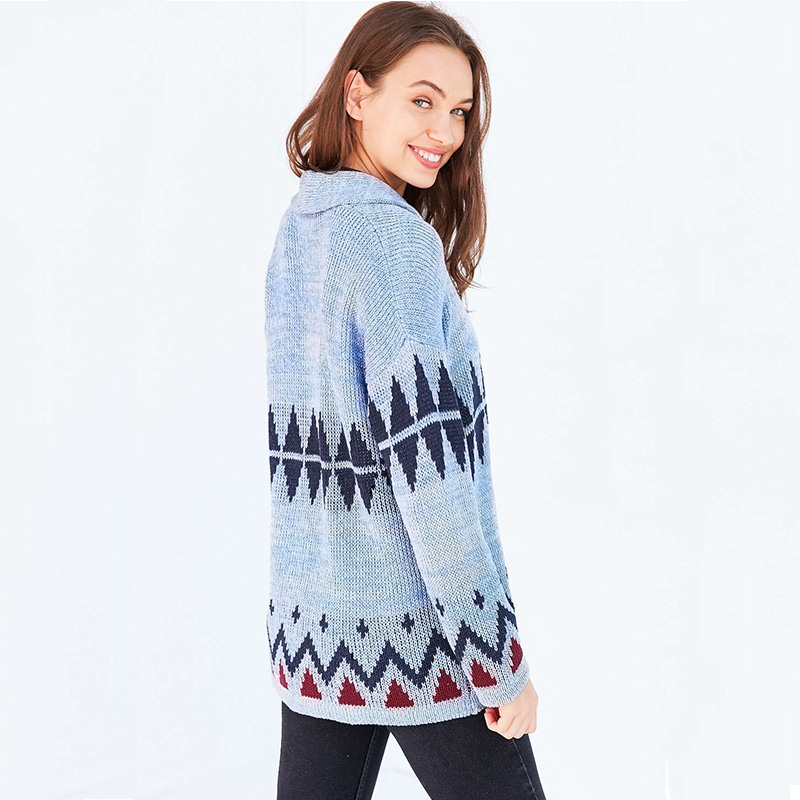 96b8e98178 Blue geometric pattern cardigans for women loose oversized knitted sweaters  ladies stylish casual knit outwear coats jackets-in Cardigans from Women s  ...