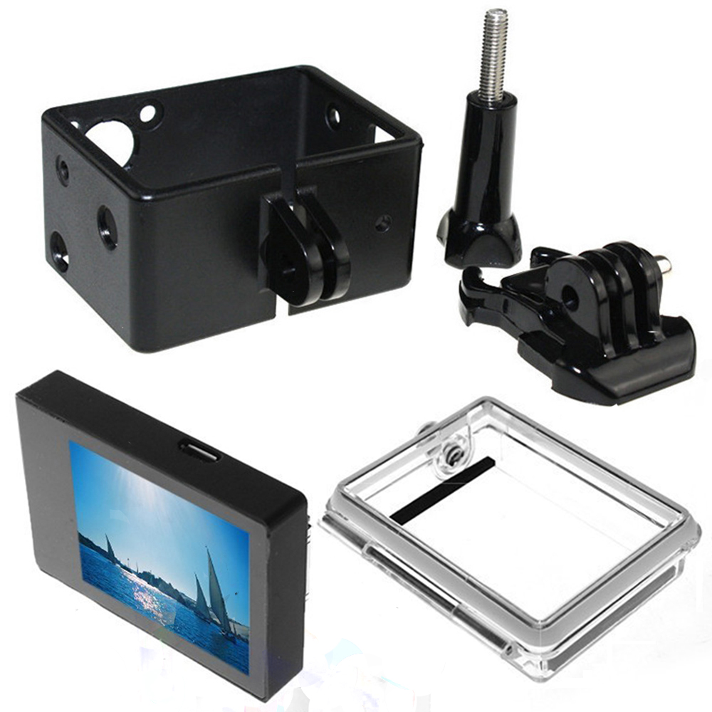 Gopro Hero 3 3+ 4 LCD Screen BacPac Display Viewer+Backdoor Case Cover+Gopro Expand Protective Frame For Gopro3 3+ 4 Accessories gopro protective frame cover side opening case housing with base mount buckle for gopro hero 3 3 4 sports camera accessories