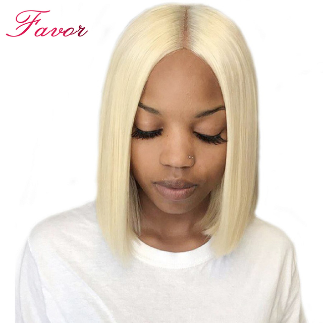 221b090b2 150% Density Lace Front Human Hair Wigs 613 Blonde Short Bob Straight Lace  Wigs Brazilian Remy Human Hair Pre plucked Hairline
