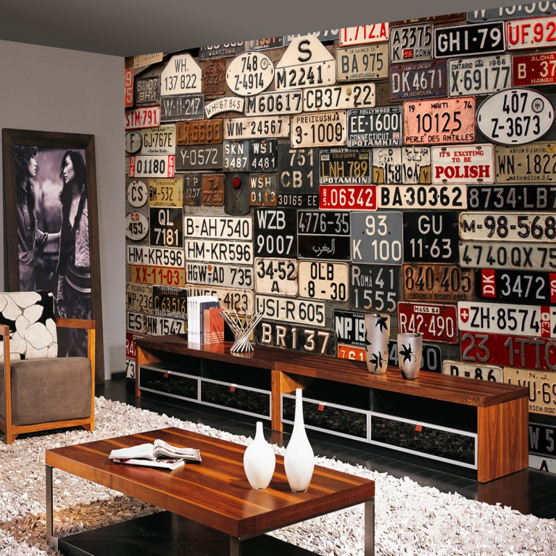 Custom Mural Europe And The United States Nostalgic Retro License Plate Background Wall Wallpaper Living Room Mural