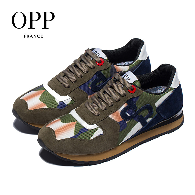 OPP Men's Shoes Fashion Lace-up Green camouflage Military Style Sneakers Genuine Leather Large Size Casual Shoes