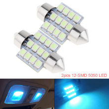цена на 2pcs White Festoon Led Dome light 12-SMD 5050 LED Car Auto Interior Door Light Bulb 12V Reading Light Map Lamp