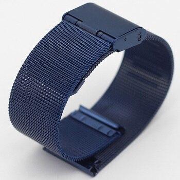 цена Milanese 10mm 12mm 14mm 16mm 18mm 20mm Golden Rose Gold Blue Stainless Steel Watch Band Milan Mesh Strap Metal Watch Bracelets онлайн в 2017 году