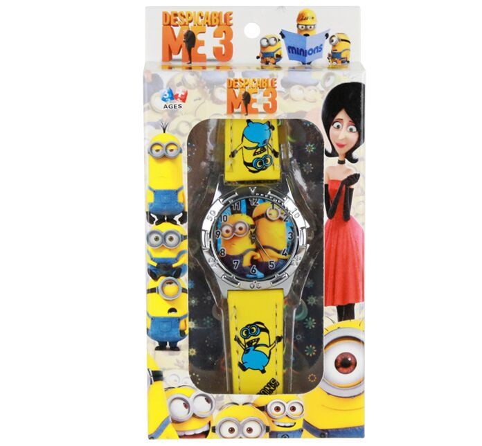 1Pcs Kids Cartoon Minions Watches With Boxes/Children Despicable Me Wrist Watches