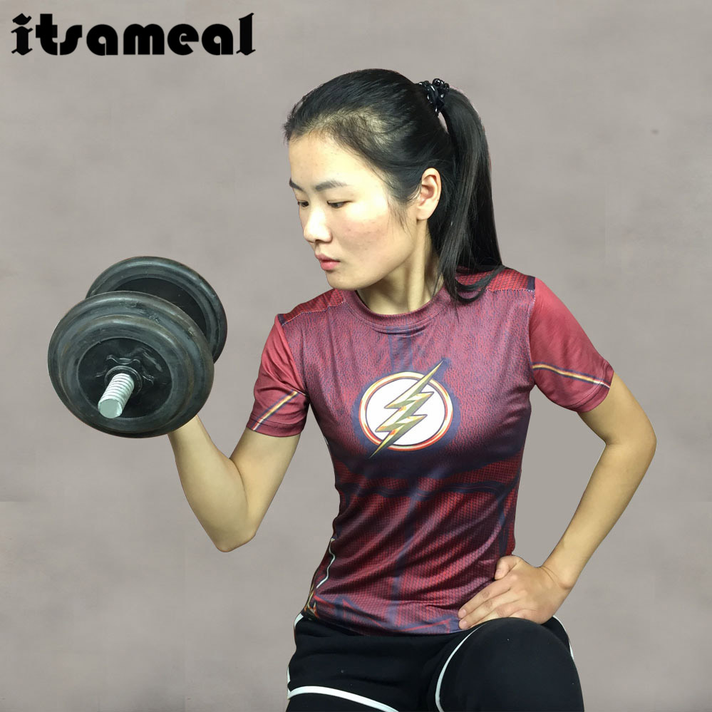 Compression Shirt Flash 3D Printed T Shirt Women Ladies Raglan Short Sleeve  Novelty Cosplay Costume Fitness fdafe6db862